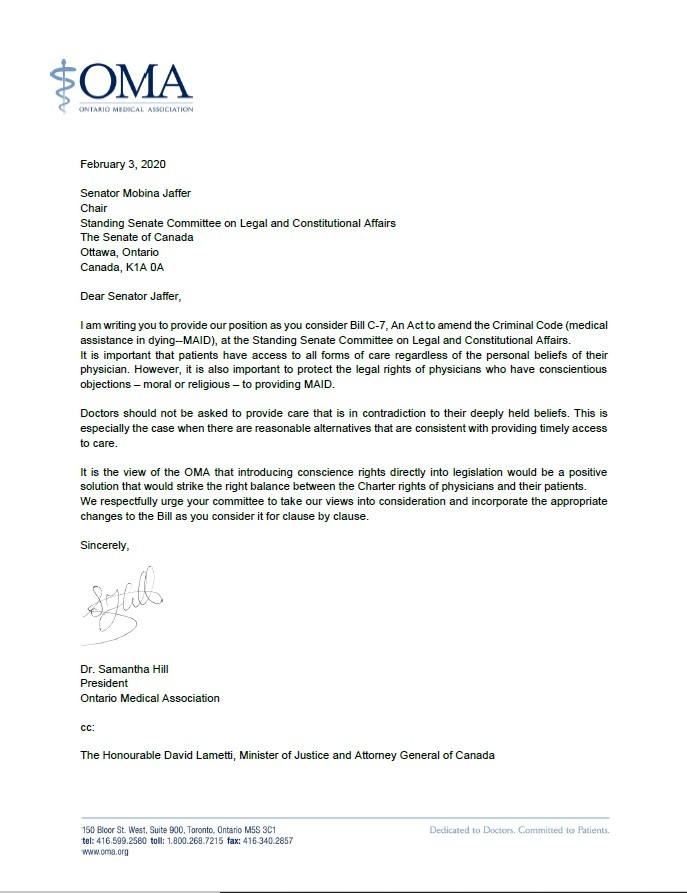 Ontario Medical Association asks for protection of conscience amendment to euthanasia/assisted suicide bill